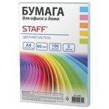 38395 Бумага цветная STAFF COLOR, А4, 80г/м2, 100 л., микс (5цв.х20л) пастель 110889